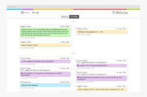 Timeline-Ansicht in der Web-App für Schulen