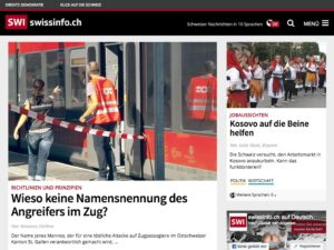 Tablet Layout der Swissinfo Webseite