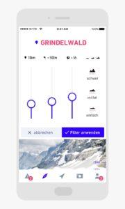 Filter Möglichkeiten in der Wayfarer App